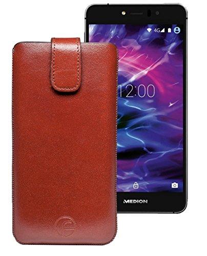 Original Favory Etui Tasche für MEDION LIFE X5520 (MD 99607) | Leder Etui Handytasche Ledertasche Schutzhülle Hülle Hülle Lasche mit Rückzugfunktion* in braun