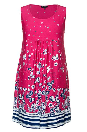 Ulla Popken Damen große Größen Jersey-Kleid azaleenrot 46/48 747520 53-46+
