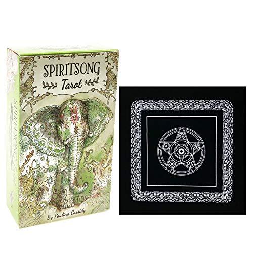 Spiritsong Tarot 78 Englisch Tarot-Karten mit schwarzem Plüsch Altar Tabellen-Tuch, Pentagram Retro Tarot Tuch für Divination Fate Unterhaltung