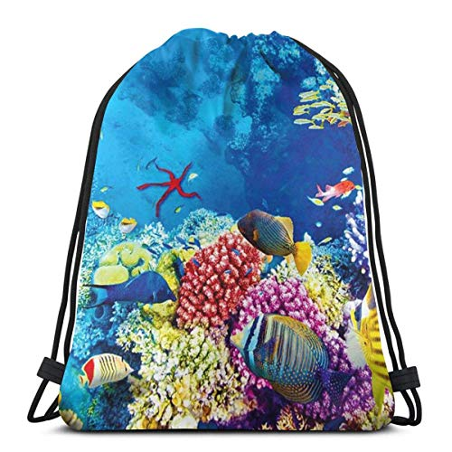 BXBX Trasportare Bags World Corals Tropical Fish Drawstring Bag for Sports School Travel Swimming Bags Men, Women Students