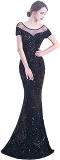 Black Dresses for Women, Elegant Halter Long Black Dresses for Women, Simple Black Sequins Black Womens Dress for Christmas Costumes Festival Cosplay (Color : Black, US Size : 4)