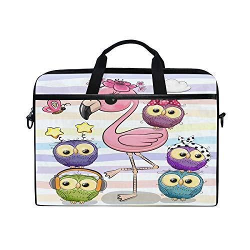 HAIIO Laptop Bag Case Cartoon Cute Owl Flamingo Bird Computer Protector Bag 14-14.5 inch Travel Briefcase with Shoulder Strap for Women Men Girl Boys
