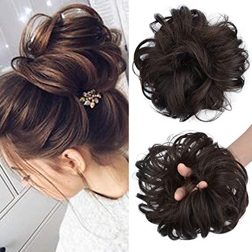 SEIKEA 1PCS Messy Bun Hair Piece Tousled Updo Hair Extension With Elastic Rubber Band Hairpiece Synthetic Hair Scrunchies Hair Piece for Women Girls Color Dark Brown