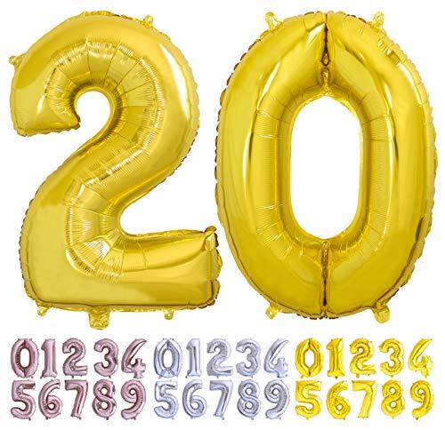 Globo numero 20 dorado. Globos Gigante números 2 0 disponible del 0 al 99 fiestas cumpleaños decoración fiesta aniversario boda tamaño grande 70 cm con accesorio para inflar aire o helio (20 Oro)