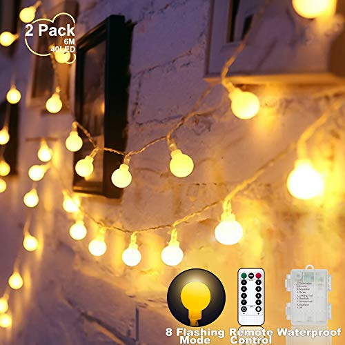 LED Kugel Lichterkette beleuchtet batteriebetriebenes warmes Weiß, wasserdichtes 2 Satz 6Meter 40 LED Kugel-feenhaftes Schnur-Licht 8 Modi mit Fernbedienung, für Haus, Weihnachten, Gartendekoration