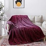 NEWCOSPLAY Super Soft Throw Blanket Premium Silky Flannel Fleece Leaves Pattern Lightweight Blanket All Season Use (Gradient-Aubergine, Throw(50'x60'))