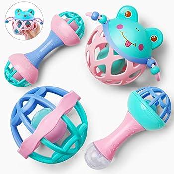 4-Pieces Gizmovine Baby Rattles Newborn Toys Set
