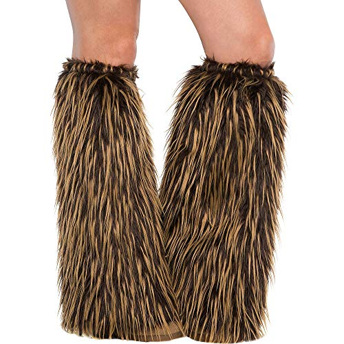 AMSCAN Medieval Furry Leg Warmers Halloween Costume Accessories for Adults, 18