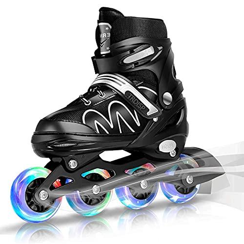 Inliner Kinder, ABEC-7 Chrome Kugellager Einstellbare Unisex Fitness Inline-Skates für Erwachsene Anfänger mädchen Jungen Kinder Herren Damen (Weiß, L (37-42))