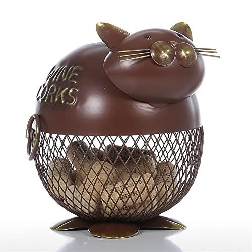 GYSEA Encantador Gordo hinchado Gato Vino tapón envase Ornamento Almacenamiento Tarro Caja Organizador decoración casera Escultura Animal Animal Regalo