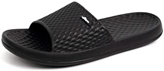 FUNKYMONKEY Mens Womens Bathroom Shower Slippers Indoor Home Beach Non Slip Sandal (US Women 8, Black)