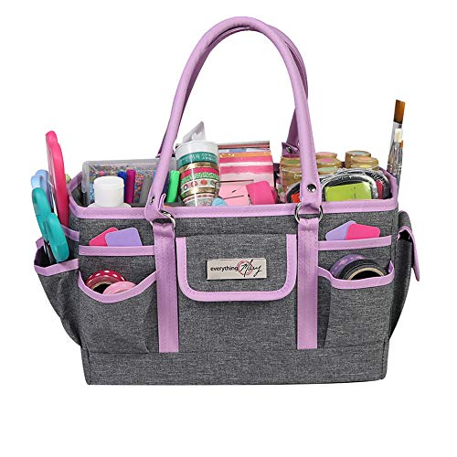Everything Mary Craft Bag Organizer Tote Purple  Storage Art Caddy for Sewing amp Scrapbooking  Crafts Supply Carrier w/Handle for Supplies amp Tools Organization for School Medical Office