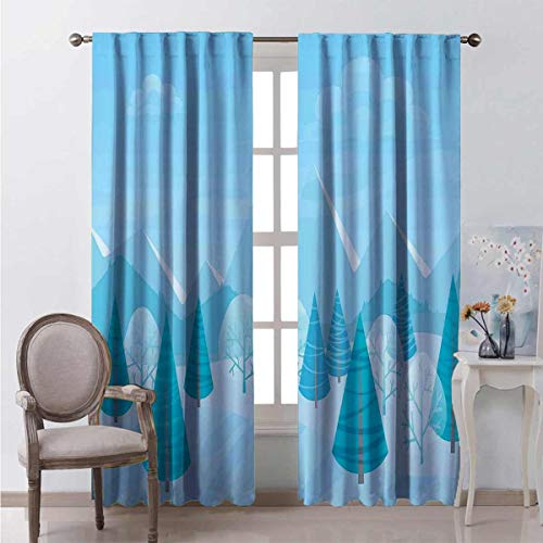 Toopeek Wear-resistant color curtain Christmas Pines Alps Waterproof fabric W63 x L63 Inch