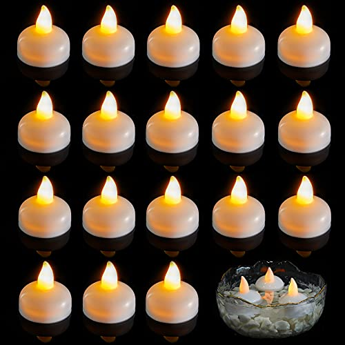 20 Pieces Flameless Floating Candles Waterproof Floating Led Tea Lights Warm White Battery Flickering Flameless Candles for Wedding Party Spa Pool Home Indoor Outdoor Decor
