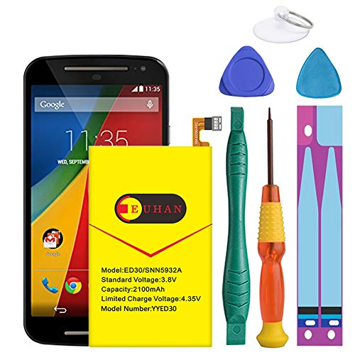 (Upgraded) Euhan 2100mAh Rechargeable Li-Polymer Battery Replacement for Motorola Moto G XT1032 XT1033 XT1036 ED30 SNN5932A with Repair Replacement Kit Tools