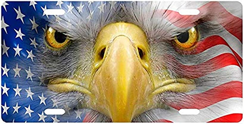 American Eagle Face in Flag License Plate Novelty Tag from Redeye Laserworks