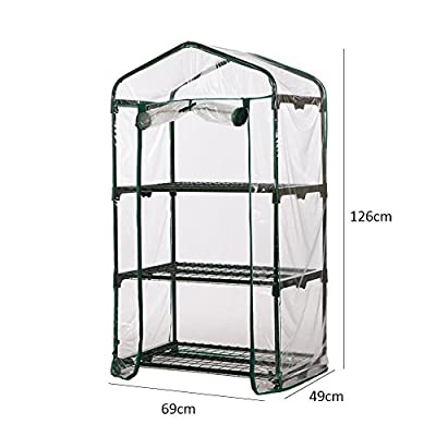 Zhifou PVC Warm Garden Tier Mini Household Plant Greenhouse Cover,Small Winter Cover - Protects Plants from The Sharp Cold, Winds, Frosts and Snow and Also Creates A Micro-Climate to Enhance Growth