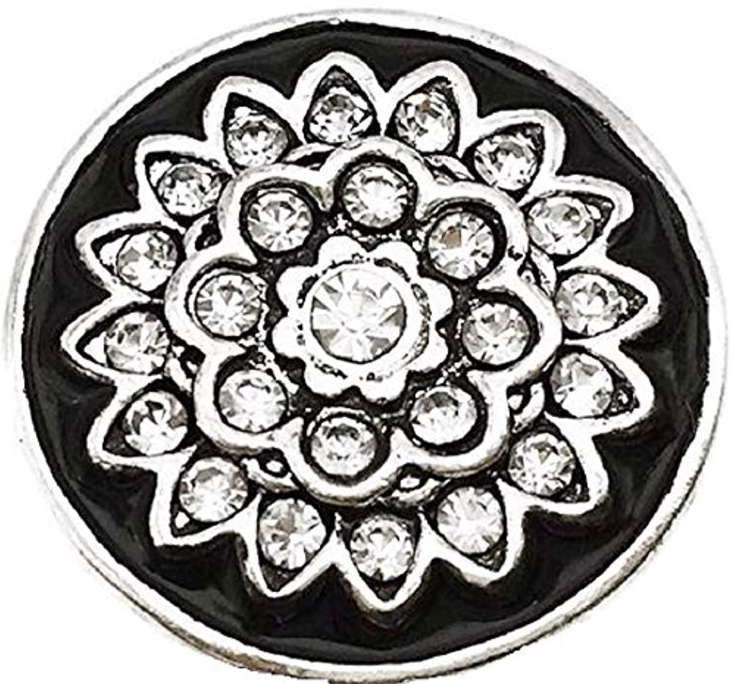Pizazz Studios Black and White Rhinestone Snap Charm 18mm