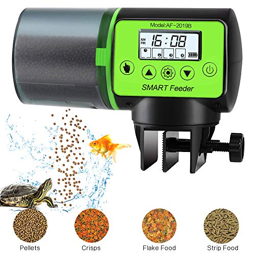 PETRIP Automatic Fish Feeder Programmable Moisture-Proof Electric Auto Fish Food for Aquarium Fish...