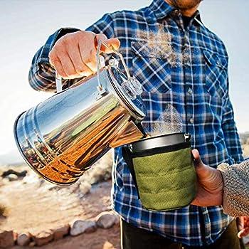 Bestargot Camping Titanium Pot Mug Tasse Extérieure avec Sac Isolation, Titan Camping Vaisselle Can, Tasse Extérieure Vaisselle 750ml 132g
