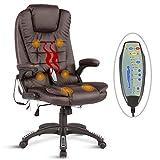 UEnjoy Fauteuil Chaise de Bureau chaise de massage electrique noir PU Massage dos lombaires cuisses à roulettes Siège de relaxation massant multifonction réglable en hauteur