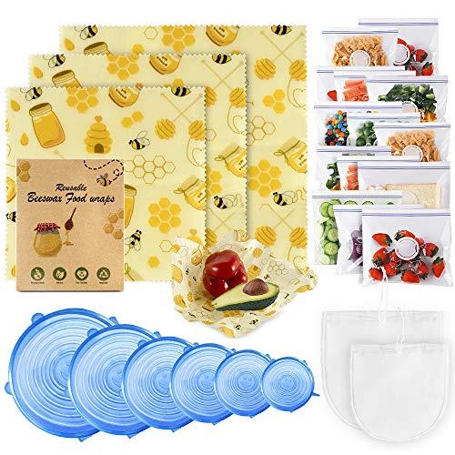 MASTERTOP Bienenwachstücher 5er Set, Wachspapier für Lebensmittel, Käse, Obst, Gemüse und Brot, Natürlich und Wiederverwendbar (2X Klein/2x Mittel/1x Groß)