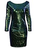 Vijiv Women's Sparkle Glitzy Glam Sequin Long Sleeve Flapper Party Club Dress , Multicolor Green , Large