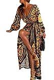 Vestidos De Cóctel Bohemios Manga Larga Floral Otoño Fiesta Maxi Vestido De Mujer (Amarillo, S)