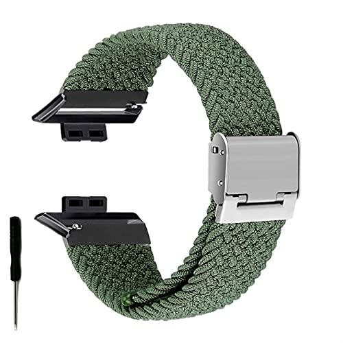 Correa de Reloj para Watch FIT Correa elástica Trenzada Ajustable Correa de muñeca Correa de liberación rápida (Band Color : Green, Band Width : Hua Fit)