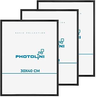 Bildramset om 3 30x40 cm modern svart plastram smal med akrylglas och tillbehör
