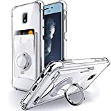 Shields Up for Samsung Galaxy J7 2018 Case, J7 V 2nd, J7 Refine, J7 Star, J7 Aero, J7 Crown, J7 Top, J7 Aura, J7 Eon Case, Minimalist Wallet Case with Card Holder and Ring Kickstand/Stand -Clear