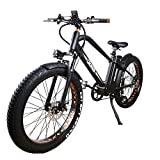 NAKTO 26'' Electric Bicycle Fat Tire Ebike Mountain Electric Bike with 6-Speed Gear 500W Brushless Motor and 48V 12AH Lithium Battery,ebike with Charger