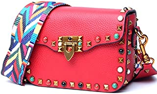 Leather 2018 New Women's Color Rivet Small Square Head Layer Leather Slung Women's Wallet Wide Shoulder Strap Shoulder Wallet Waterproof (Color : Pink, Size : M)