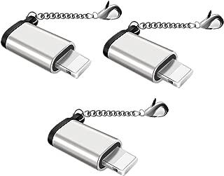 Jin【3個セット】Micro USB & Lightning変換アダプタ マイクロ USB ライトニング変換アダプタ 充電と高速データ転送アルミニウム合金 紛失を防ぐキーホルダー付き 8pin iPhoneX iPhone8 iPhone7 iPhone6s iPad mini 全機種対応 micro USB to iPhone 変換コネクタ(シルバー)