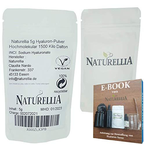 Naturellia Acido Hialuronico Polvo 5 Gramos 1500 k-Dalton Altamente Concentrado - Alto Peso Molecular Para el Efecto de Superficie - Solo Mezclar una Crema Antienvejecimiento en el Hogar