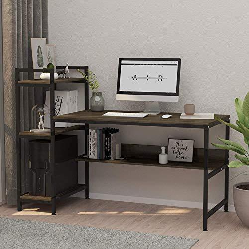 Dripex Holz Schreibtisch mit Ablage Computertisch, PC-Tisch Bürotisch Officetisch Stabile Konstruktion Tisch für Home Office (136cm Walnuss Farbe)