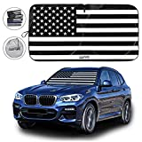Car Front Windshield Sun Shade, American Flag Steering Wheel Sun Visor for Car, UV Rays and Privacy Protection, Foldable, Keep Car Cool, Fit for Most Vehicles (Black, 59'x31')