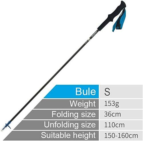 ZUKN Pliant Trekking Pole, baton de Marche portatif réglable Ultra-léger de Fibre de Carbone 4Section avec la poignée de Mousse d'EVA pour la randonnée Alpenstocks