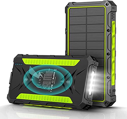 Solar Powerbank 20000mAh,Powerbank Wireless Charger Tragbare Solar Ladegerät mit 3 Ausgängen USB C Externer Akku mit LED Licht für iPhone, Samsung, LG, iPad Und usw