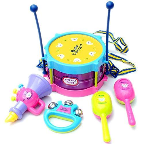 AceTT Baby Roll Drum Musical Instruments Kids Drum Set Children Toy Drum with Drum Sticks Saxophone Whistle Maracas Tambourine (5 Pcs)