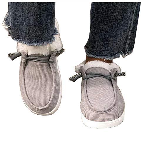 UMore Zapatillas de estar por casa Botas Nieve Mujer Zapatos de Invierno Fur Forro Calentitas Botines Antideslizante Peso Ligero Plano Corto Botas Cómodo