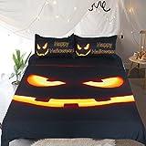 Sleepwish Spooky Halloween Pumpkin Bedding Set 3 Piece Black Pumpkin Glow Cool Duvet Cover Funny Halloween Birthday Gifts King Size