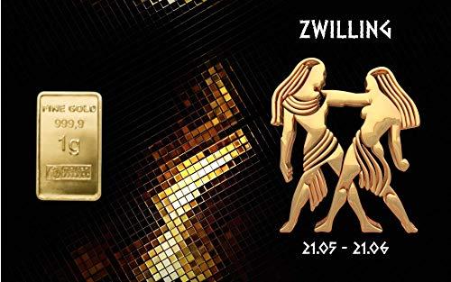 Deutsches Goldkontor 1,0 Gramm Feingold Motiv-Karte Sternzeichen Zwilling Goldbarren / 999,9 Gold