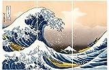 1art1 Katsushika Hokusai - La Grande Onda di Kanagawa, 3 Parti Stampa su Tela (180 x 120cm)