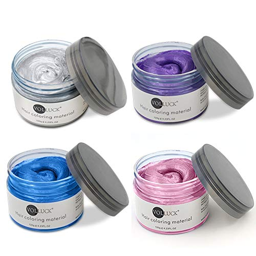 4 Hair Coloring Wax Temporary Hair Clay Pomades 4.23 oz- 4 in 1 Grey Purple Blue Pink - Natural Hair Dye Material Disposable Hair Styling Clay Ash for Cosplay,Halloween,Party