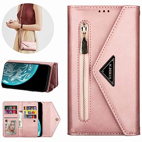 Miagon Galaxy A41 Crossbody Reißverschluss Hülle,Brieftasche Geldbörse Handtasche mit Schulterriemen Flip Kartenhalter Ständer PU Leder Cover für Samsung Galaxy A41