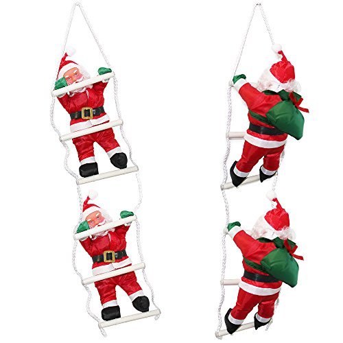 LD Natale decorazione di Natale uomini sulla scala 65cm Babbo Natale decorazione Natale Statuetta Babbo Natale