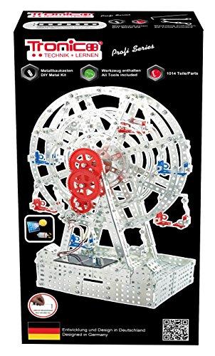 TRONICO Metallbaukasten Riesenrad Solar Jahrmarkt Kirmes Konstruktionsspielzeug Mint STEM Modellbau Bauen mit Werkzeug