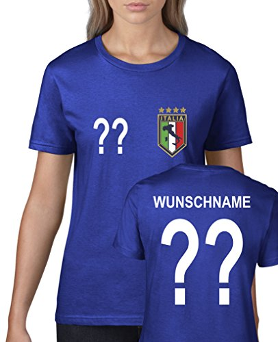 Comedy Shirts - WM 2014 - Italien - Wunsch - Damen T-Shirt - Royalblau Gr. S