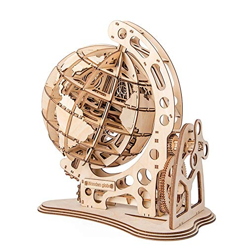 XIAOLULU 3D Wooden Puzzle DIY Brain Teaser PuzzlesHand Craft Mechanical Toy Gift 3D Wooden Globe Puzzle Decoration Wood Model Kit (Color : Natural, Size : 260x290x170(mm))